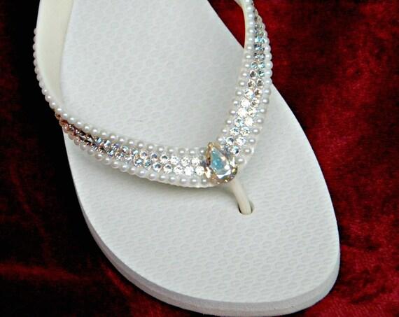 Custom Flip Flop Crystal Pearl Wedding Shoes w/ Swarovski Ivory Moonlight River Beach Bridal Bling Havaianas flat or Cariris Wedge Heel Shoe