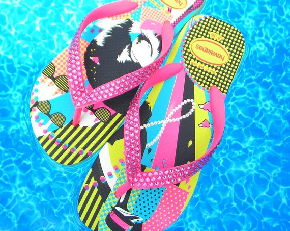 Pink Havaianas Flip Flops Rose Yellow FUN flat sandals custom w/ Swarovski Crystal Rhinestones jewels Bling Wedding Bride beach Thongs Shoes