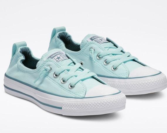 Aqua Teal Blue Converse Low Top Shoreline Turquoise Slip on Custom w/ Swarovski Crystal Rhinestone Chuck Taylor Bride Wedding Sneakers Shoes