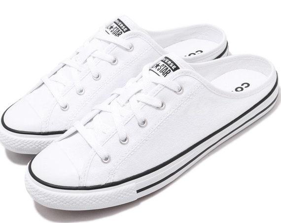 White Converse Slip On Mule Custom Low Beach Bride Shoes Mono w/ Swarovski Crystal Chuck Taylor Rhinestone All Star Summer Wedding Sneakers