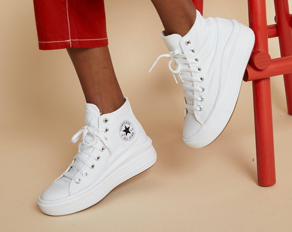 Converse Move on Mono White High Top Boots Platform Wedge Lift Club Kicks w/ Swarovski Crystal Rhinestone Chuck Taylor All Star Sneaker Shoe