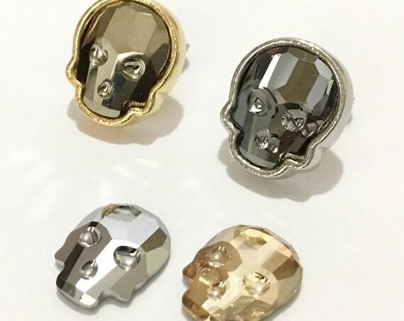 Crystal Skull Earrings Cosplay Swarovski Silver Gold pierced Stud 10mm Rhinestones Minimalist Halloween Costume Spooky Post Gift  Jewelry