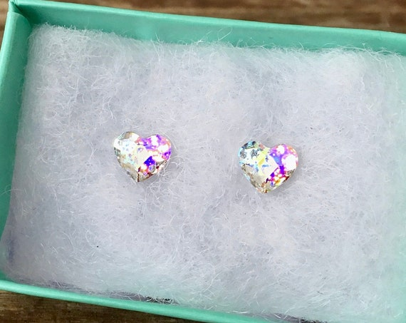 Tiny White Patina Crystal Heart Earrings Stud Set 6mm Swarovski Wedding Bride Rhinestone w/ Silver Titanium Stainless Hypo Ladies Xmas Gifts