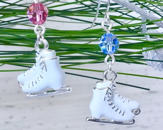 Ladies Ice Skates Earrings w/ Swarovski Crystal White Figure Skates Star Drop Dangle French Hook Silver Titanium Hypo Ice Charm Jewelry Gift