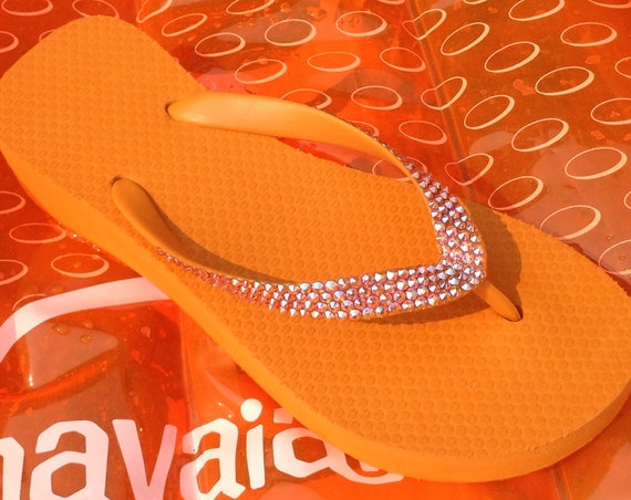 "Orange flip flops custom Wedge sandals w/ Swarovski Crystal Sun AB iridescent Rhinestone Jewel Cariris Brazilian 1.5"" Heel bling Thong Shoes"