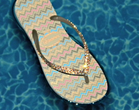 Gold Crystal Flip Flops Havaianas Zig Zag Slim Collector Glass Slippers w/ Swarovski US 6 - 7 Beach Shoes Sand Beige Rhinestone Bling Sandal