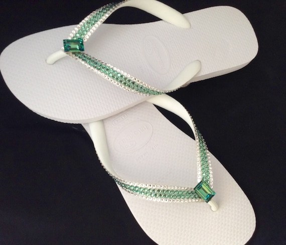 Green Crystal Flip Flops Custom High Society Erinite Rocks w/ Swarovski Havaianas flat or Cariris Wedge Heel Beach Wedding Thong Sandal Shoe