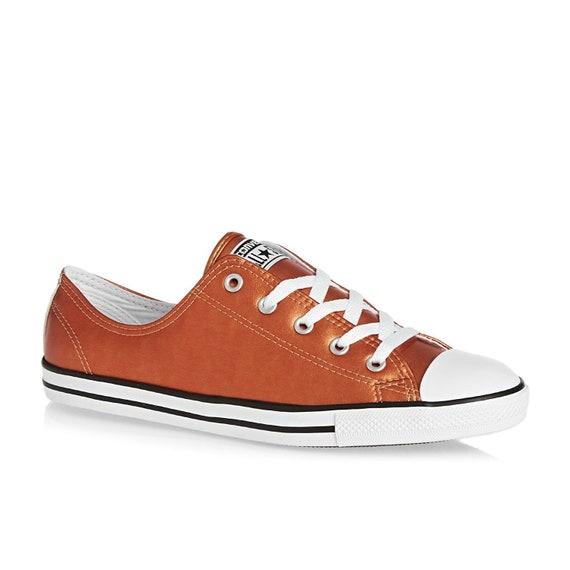 Copper Gold Converse Dainty Slip on Leather Metallic Custom w/ Swarovski Crystal Rhinestone Chuck Taylor Star Orange Wedding Sneakers Shoes