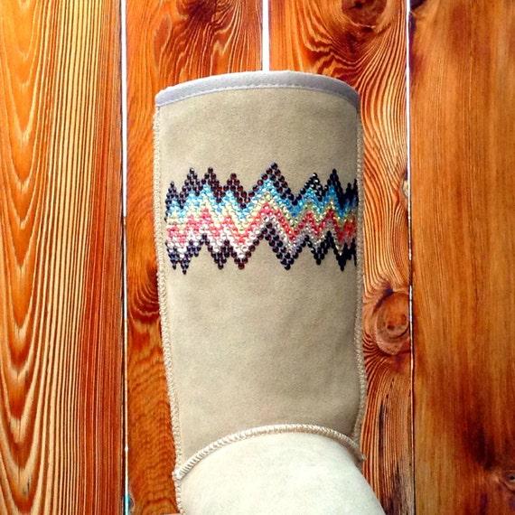 Classic Tall Boots Inspired by Chocolate Custom UGGs w/ Swarovski Crystal Rhinestone Jewel GlassSlipper Multi Color Zig Zag Snow Winter Shoe