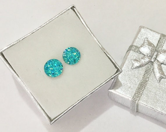 Turquoise Blue Aqua Green Rock Crystal Druzy Earrings Pierced studs 8mm Hypoallergenic Titanium Allergy safe Wedding Jewelry Minimalist Gift