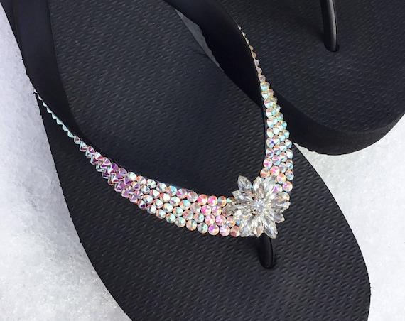 Custom Crystal Flip Flops Silver Snowflake Jewel AB Iridescent w/ Swarovski Rhinestone Havaianas or Cariris Wedge Beach Wedding Beach Shoes