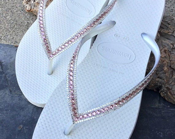 White Wedding Flip Flop Havaianas Slim Custom Blush Pink Vintage Rose Crystal Custom Slipper w/ Swarovski Jewel Rhinestone Beach Bridal Shoe