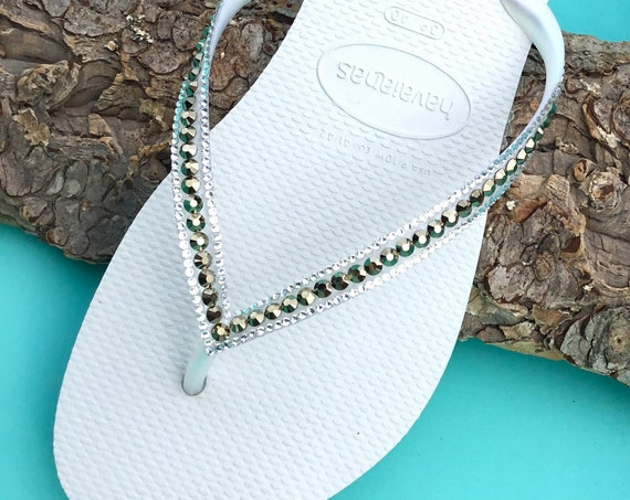 White Flip Flops Havaianas Slim Metallic Light Gold Ore w/ Swarovski Rhinestone Jewels Beach Wedding Bridal Bridesmaid Bling Slippers Shoes