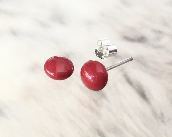 Brick Red Coral Swarovski Pearl earrings 6mm stud half dome round Cabochon Silver tone Hypo Titanium Post Jewelry Ladies Wedding Gift Bridal