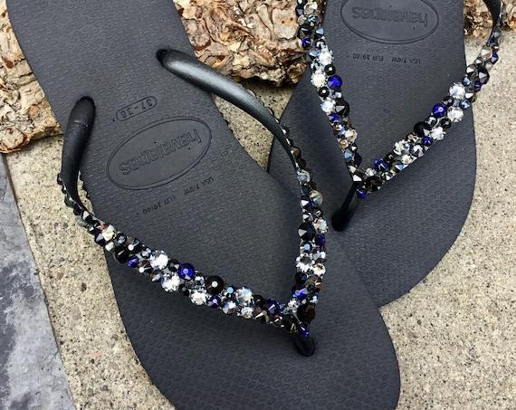 Beach Glass Black Silver Blue Crystal Havaianas Slim Flip Flops w/ Swarovski Rhinestone Ocean  Sea Wedding Shoes Bling Jewels Bridal Slip on