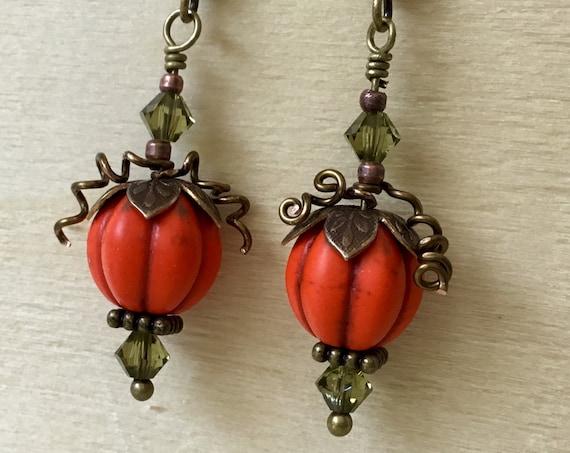 Fall Halloween Pumpkin Patch Earrings Orange Olive Drop Brass Hook Titanium Hypo w/ Swarovski Crystal Lamp Bead Trick Treat Costume Jewelry