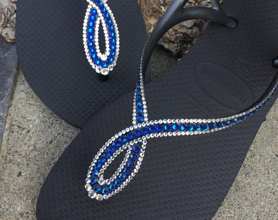Black Electric Blue Flip Flops Havaianas Slim Crystal LUNA Infinity Custom w/ Swarovski Rhinestone Bling Jewels Ladies Wedding Sandals Shoes