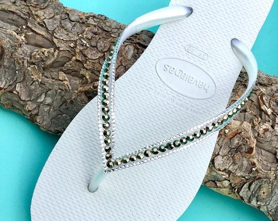 White Flip Flops Havaianas Slim Metallic Light Gold Ore w/ Swarovski Rhinestone Jewels Beach Wedding Bridal Bridesmaid Bling Slippers Shoes