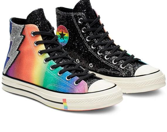 70s Pride Converse LGBTQ 2019 Rainbow Multicolor Black High Top Glitter Lightning Chuck Taylor w/ Swarovski Crystal All Star Sneakers Shoes