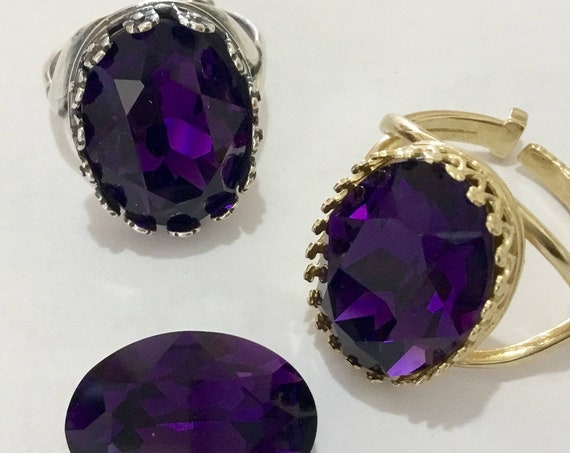 Purple Crystal Jewel Finger Ring Antique Silver Gold Brass Bezel set Adjustable Cocktail Party Statement w/ Vintage Swarovski Ladies Gifts