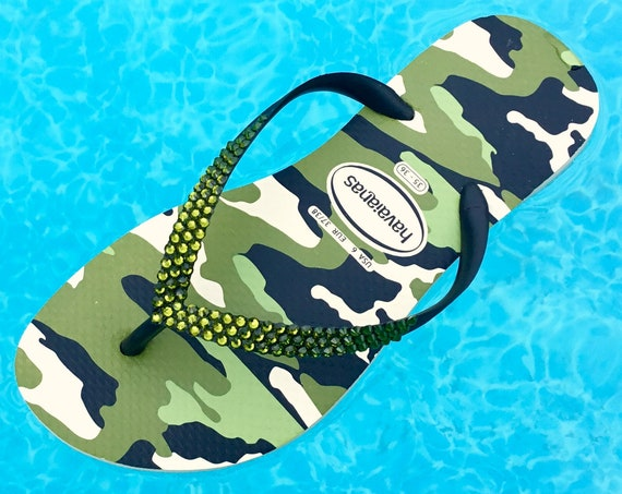 Camouflage Havaianas Slim Black Olive Green flat Crystal Flip Flops w/ Swarovski Camo Military Army Beach Wedding Sandals Bling Custom Shoes