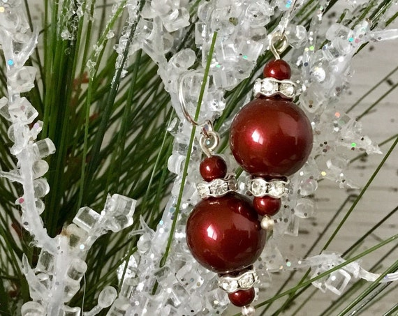 Burgundy Dark Red Pearl earring Wine Bordeaux Chandelier Swarovski Crystal Pearls Gold Silver Drop Dangle Hook Titanium Hypo Metal safe Gift