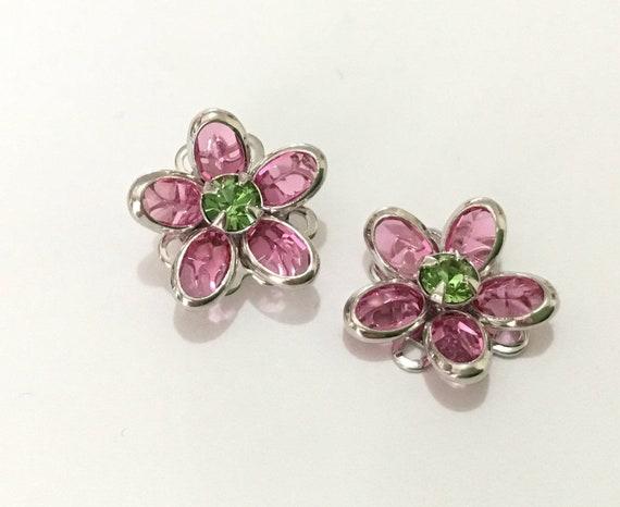 15mm Silver Flower Earrings Fused Floral Filigree Vintage Swarovski Crystal Green Peridot Pink Rose Titanium Post Studs Ladies Jewelry Gift
