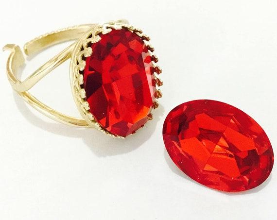 Light Siam Red Oval Bezel Finger Ring Antique Silver plated or Gold Brass Adjustable Cocktail w/ Swarovski Vintage Crystal Jewel Ladies Gift