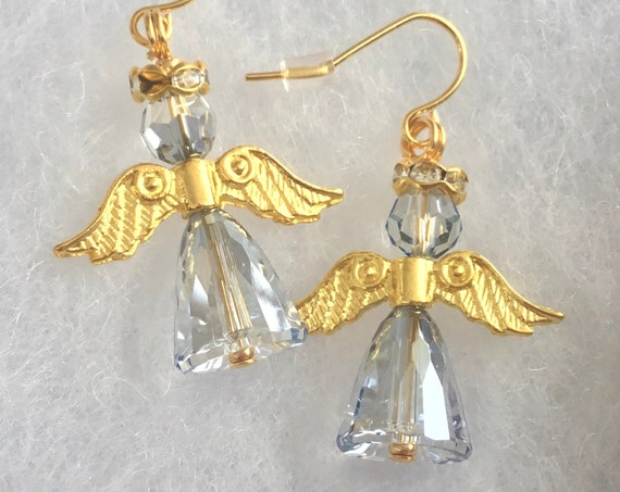 Christmas Crystal Arc Angel Earrings w/ Swarovski Ice Blue Jewel Drop Dangle Hooks Gold Silver Hypo Titanium Religious Holiday ladies Gifts