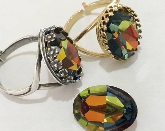 Rainbow Crystal Oval Bezel Finger Ring Rainbow Vitrail Medium Antique Silver Golden Brass Adjustable Cocktail w/ Swarovski Jewels Mens Gifts