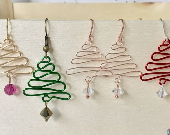 Rainbow Christmas Tree Earrings Wire Shepherd French Hook Silver Gold Titanium Hypo w/ Swarovski Crystal Beads Festive Holiday Jewelry Gift
