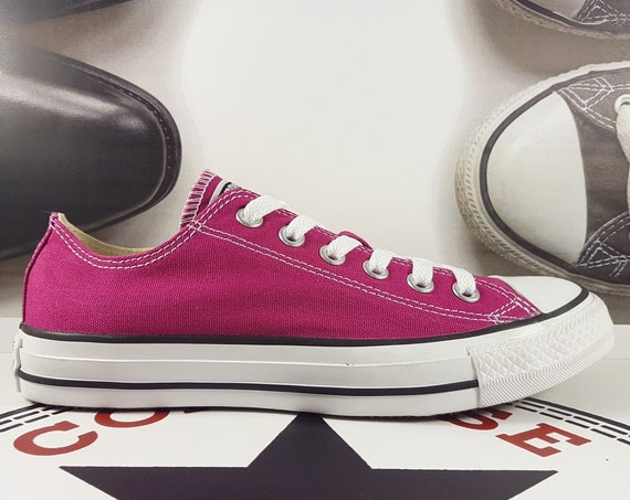 Pink Converse Low Top Orchid Raspberry Sapphire Fuchsia Magenta w/ Swarovski Crystal Wedding Chuck Taylor Bride All Star Bridal Sneaker Shoe