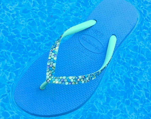 Blue Mint Green Havaianas Slim flat Crystal Flip Flops w/ Swarovski Jewels Bling Rhinestones Beach Wedding Sandals Bling Ladies Custom Shoes