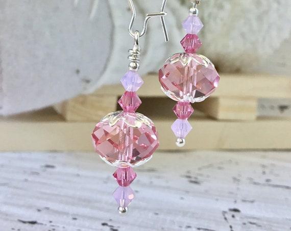Chandelier Earrings Briolette Light Rose Opal Swarovski Crystal Jewel Drop Dangle Kidney Hook Silver Titanium Hypo Allergy Ladies Gift
