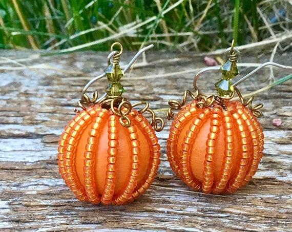 Pumpkin earrings Fall Halloween Wood ball 20mm Orange Bead Olive Dangle Drop Hook Titanium w/ Swarovski Crystal Trick Treat Costume Jewelry