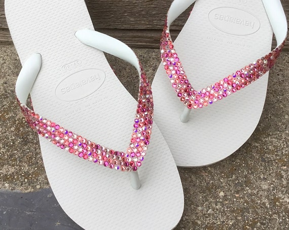 Pink Rainbow Crystal Flip Flops Slim w/ Swarovski Jewel Havaianas flats Cariris Wedge Shoe Multi Color Wedding Confetti Rhinestone shoes