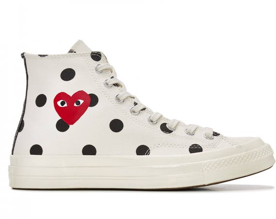 White Converse Peek a Boo Red Heart High Top Polka Dot Lady Mens w/ Swarovski Crystal Rhinestone Chuck Taylor All Star Sneakers Trainer Shoe
