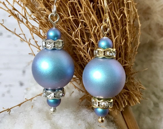 Light Blue Chandelier Pearl Earrings Iredescent Swarovski Crystal Pearls Gold Silver Drop Dangle Hooks Titanium Hypo Allergy Ladies Gift