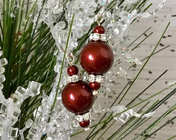 Burgundy Pearl earrings Wine Bordeaux Chandelier Swarovski Crystal Pearls Gold Silver Drop Dangle Hooks Titanium Hypo Allergic Ladies Gift