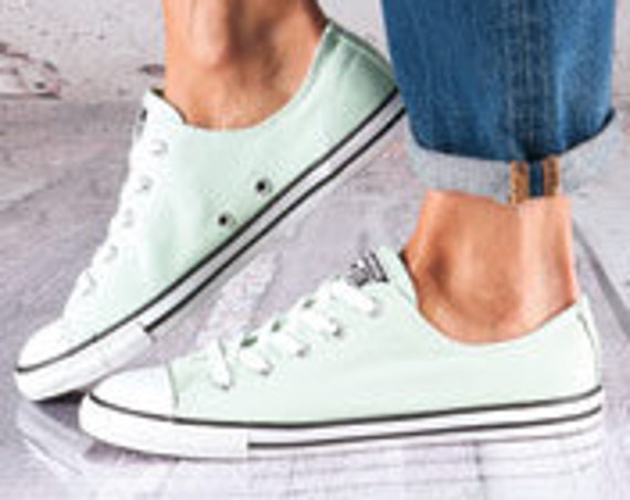 Mint Green Converse Dainty Slip on Pistachio Sea Foam Bridal Kicks w/ Swarovski Crystal Rhinestone Bride Chuck Taylor Wedding Sneakers Shoe