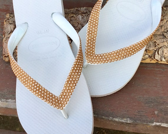 60a441d5c370d ... White Champagne Gold Pearl Flip Flops Havaianas flat Cariris Wedge Heel  Custom Cabochon Bride Beach Wedding