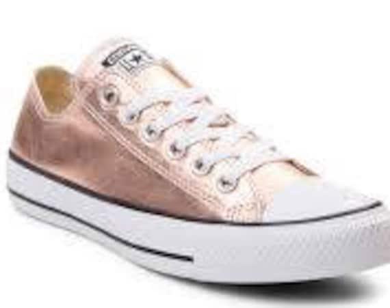 Rose Gold Converse Low Top Blush Pink Copper GlassSlippers w/ Swarovski Crystal Wedding Chuck Taylor Rhinestone Bling All Star Sneaker Shoe