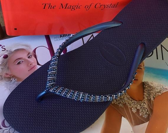 Navy Blue Havaianas Slim Flip Flops Gray Beyond Seed Beads Custom Hand sewn GlassSlippers Boho Mother Bride Wedding Vacation Honeymoon Shoes