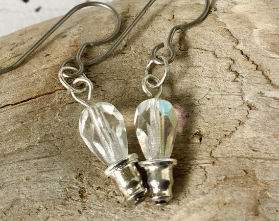 Light Bulb Idea Earrings Charm Glass Clear Crystal AB Drop French Hook Silver Titanium Cabochon Screw in Twist Bulbs Ladies Jewelry Gift