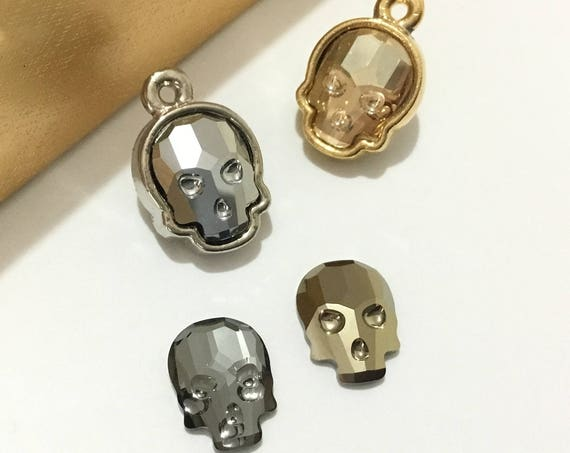 Crystal Skull Charm Pendant Swarovski Silver Gold tone 10mm Rhinestones Minimalist Halloween Costume Spooky necklace bracelet Gift Jewelry