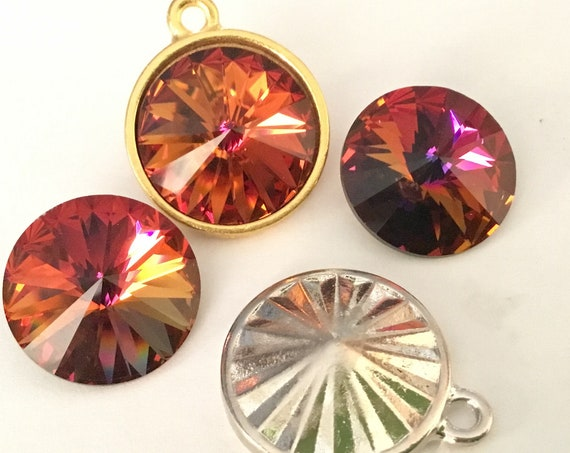 Rare Gold or Silver plate drop Chain Pendant Focal Charm w/ Vintage Cathedral Swarovski Crystal Rivoli gem 18mm Rhinestone Round Ladies Gift