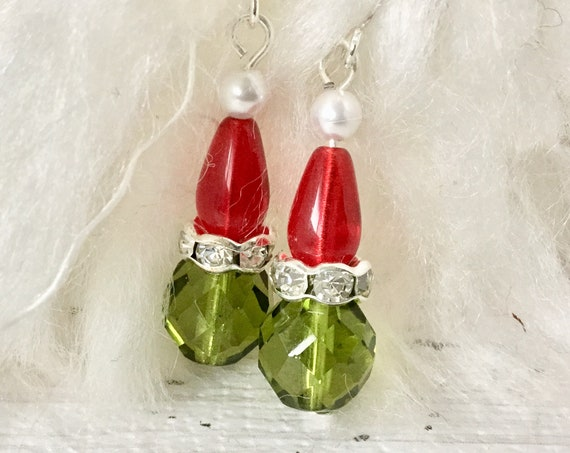 Crystal Santa Hat Earrings Grumpy Green Glass Festive Holiday Ornament Christmas Tree Dangle Silver Titanium Hypo Czech Beads Jewelry Gift