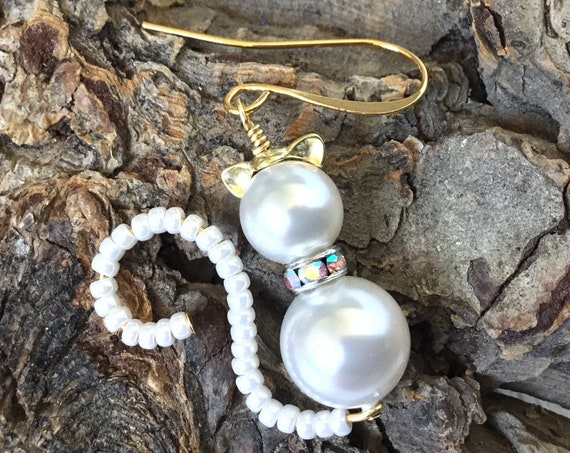 White Cat Earrings or Pendant Charm Swarovski Pearls Halloween Kitten 22k Gold Drop Dangle Titanium Hypo Trick or Treat Costume Cosplay Gift