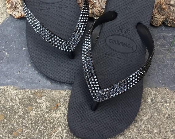 Gray Hematite Custom Crystal Flip Flops solid w/ Swarovski Rhinestone Jewel Bling Havaianas flat or Cariris wedge Beach Bride Wedding Shoes