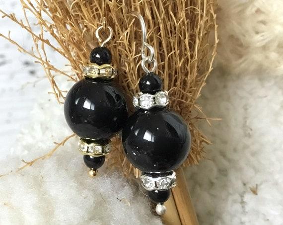 Black Chandelier Pearl Earrings Swarovski Crystal Pearls Elegant Silver Gold Drop Dangle Hooks Titanium Hypo Allergenic Lady Christmas Gift